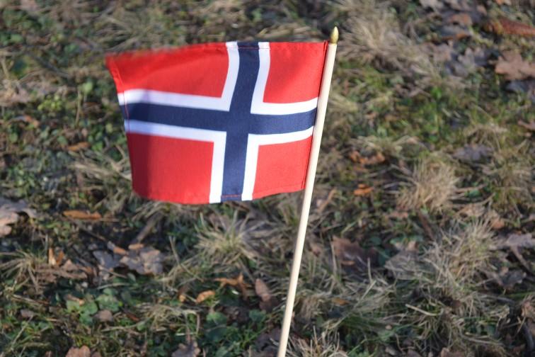 Det norske flagg på Braåtenstuarennet