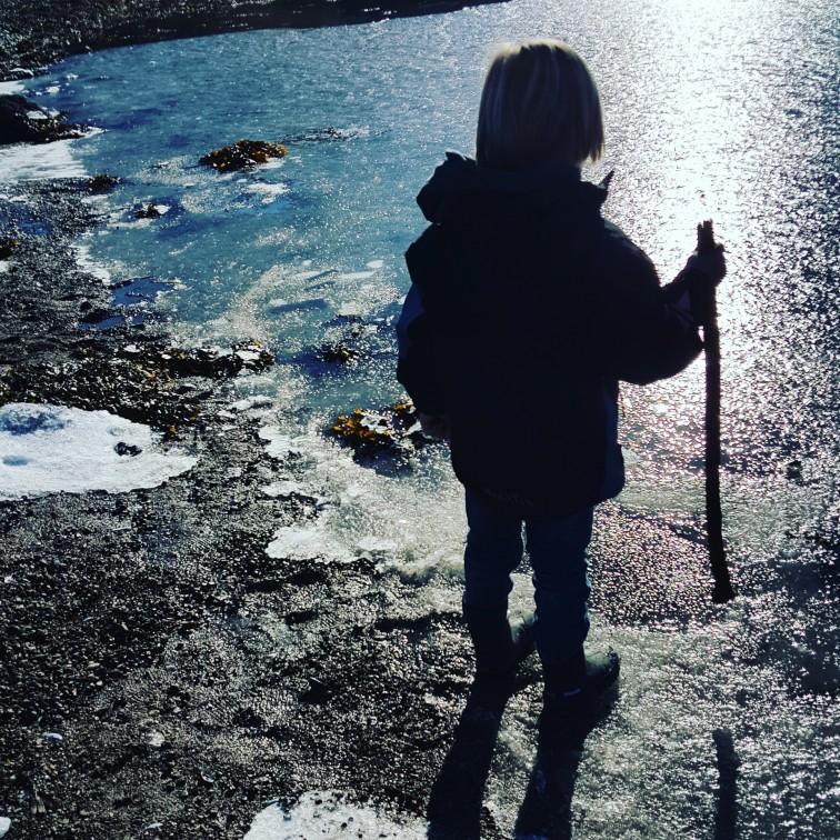 Siluett på stranden og ved isen
