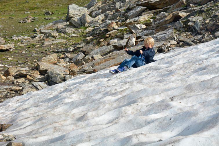 Aking i snø, august, Tromsøfjellet